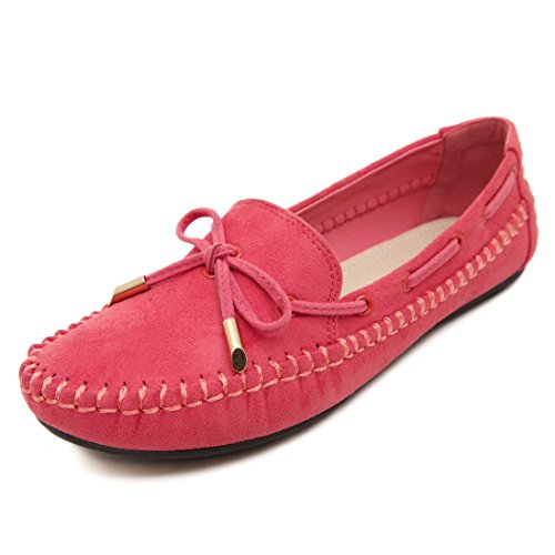 LL STUDIO Womens Casual Comfort Red Synthetic Driving Walking Moccasins Loafers Boat Shoes 9 M US -  LL STUDIO-QZ008-Red41