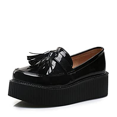 RoseG Mujer Zapatos Creepers Sin Cordones Plataforma Negro Size35