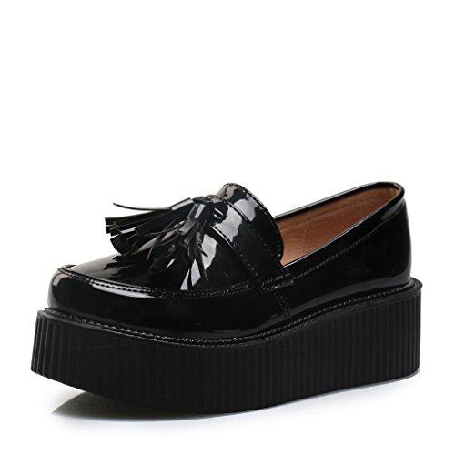 Loafers Frange Chaussures Mocassins Noir Roseg Femmes Plate Plateforme Vogue qwBf7S