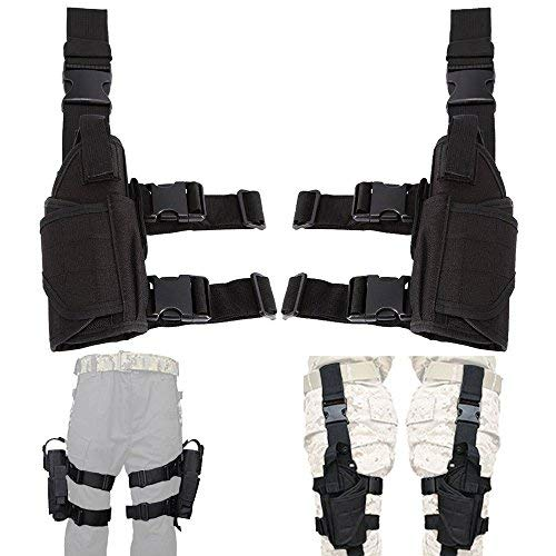 (Lux Left Hand & Right Hand Adjustable Universal Waterproof Pistol/Gun Drop Puttee Leg Thigh Holster Pouch Holder)