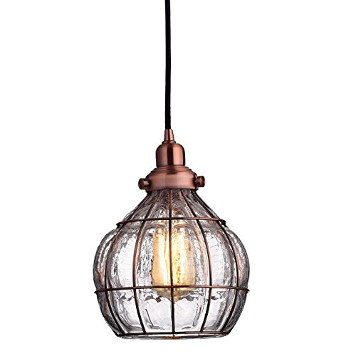 Pendant Copper Light (YOBO Lighting Vintage Cracked Glass Rustic Wire Ceiling Pendant Light, Red Antique Copper)