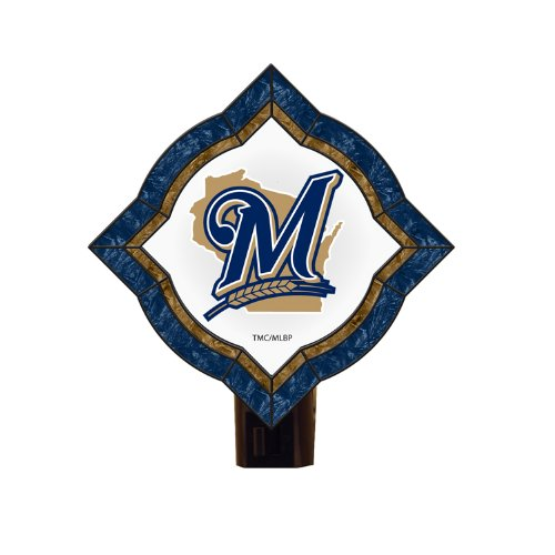 Milwaukee Brewers Mlb Light - The Memory Company MLB Milwaukee Brewers Vintage Art Glass Nightlight