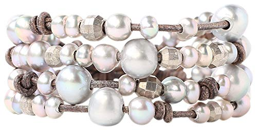 Chan Luu Freshwater Cultured Pearls Indian Beads Leather Layered Bracelet (Grey - Leather Luu Chan
