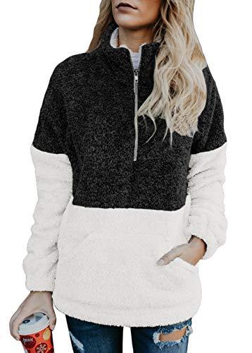 Douremifa Sherpa Pullover Fleece Sweatshirt Jacket for Women Long Sleeve Quarter Zip Color Block Fuzzy Sweater Lady Winter Coat Pockets Black L -