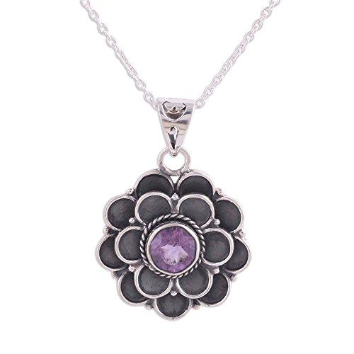 NOVICA Amethyst .925 Sterling Silver Pendant Necklace, 17.25