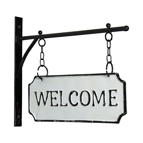 Sign Enamel Metal (Red Co. White Double Sided Enamel Hanging Sign with Wall Mounted Bracket, Welcome)