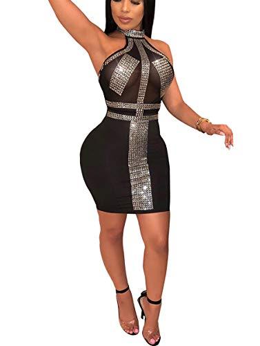 Mycherish Women's Sequin Dress Halter Sleeveless Glitter Sequin Bodycon Summer Party Mesh Mini Dress Skirts Black#2 XXL -