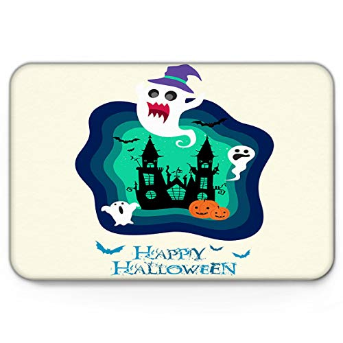 Doormats Halloween Ghost Blue Cartoon Clipart Welcome Mats