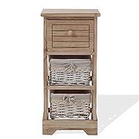 Rebecca Mobili Comodino legno e vimini, mobiletto bagno 3 cassetti, stile shabby, bagno soggiorno, idee arredo casa…