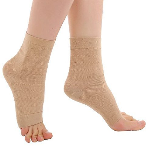 Zcargel Ankle Support Open-Toe Compression Socks (20-30mmHG) for Men Women ()