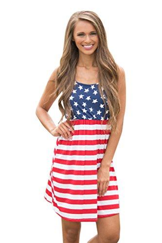 My Wonderful World Women's Sleeveless Floral Print Stars and Stripes Racerback Midi Tank Dress USA Flag Small (Big Star Mini Skirt)