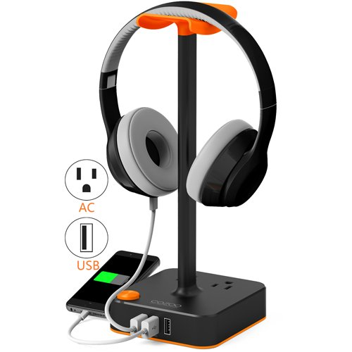 Headphone Stand With Usb Charger Cozoo Desktop Gaming Headset Holder Hanger With 3 Usb Charging Station And 2 Outlets Power Strip   Suitable For Gamer  Dj  Wireless Earphone Display