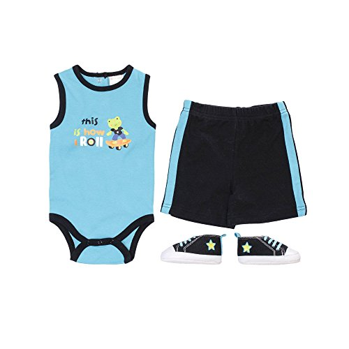 Baby Gear Baby-Boys 3 Piece Tank Shorts Shoe Set Blue Frog Skateboarder 3-6 M