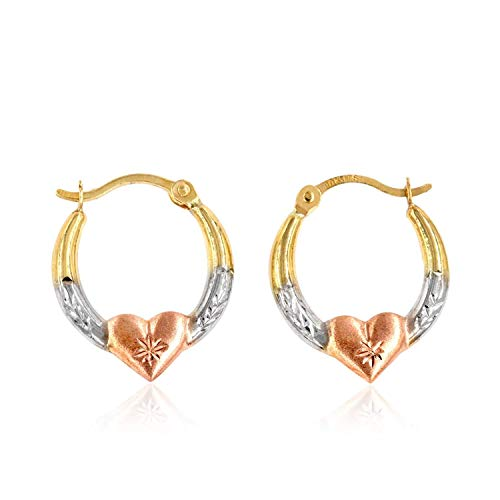 10K Gold Three-Tone Heart Creole Hoop ()