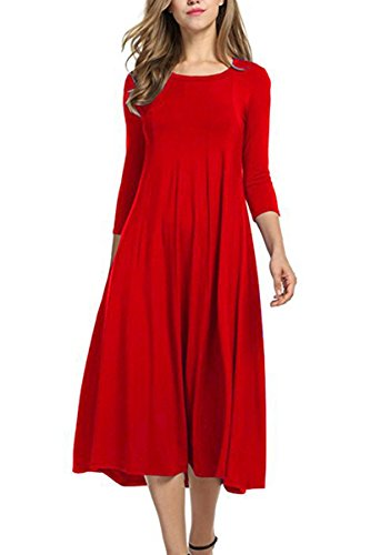 Boosouly Women's 3/4 Sleeve Scoop Neck A-Line and Flare Midi Long Dress Red 2XL