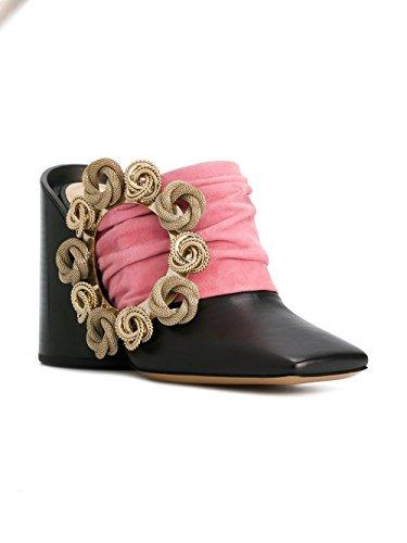 174FO0117450990 À Talons Cuir JACQUEMUS Femme Chaussures Noir Rose Ax5Onqp