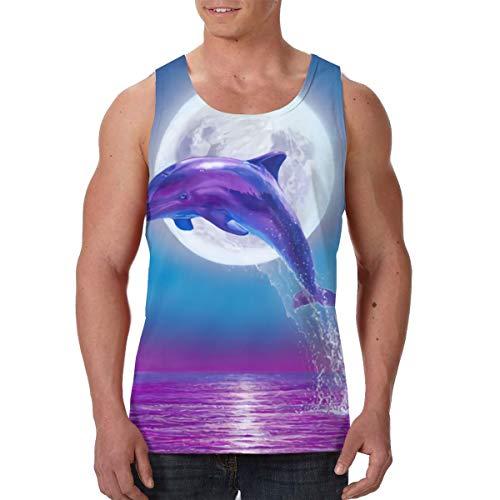 LIN. Summer Men's Boys Vest Undershirts Crew Neck Dolphin Jumping Under Moonlight Purple Blue Sleeveless Vest for Tennis Riding Holiday, Hip-Hop Casual Soft Athletic Regular Fit Daily Wear]()