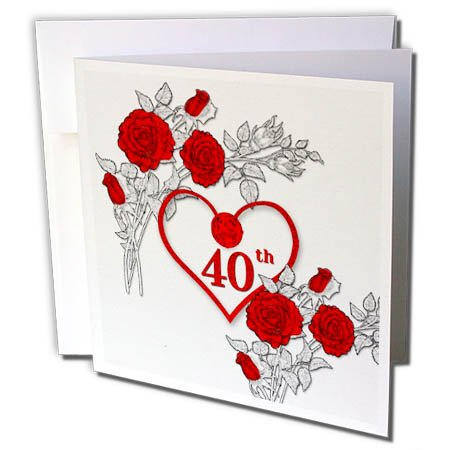 - 3dRose Doreen Erhardt Wedding Collection - Red Heart and Roses 40th Ruby Anniversary for Wedding or Business - 6 Greeting Cards with envelopes (gc_264586_1)