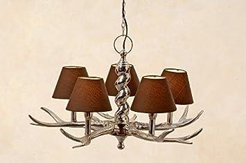 Kronleuchter Deckenlampe ~ Kronleuchter geweih mit schirmchen in braun geweihlampe deckenlampe