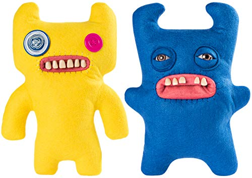 """Spin Master Fuggler Funny Ugly Monster Deluxe Stuffed Animal Medium 9"""" Plush (Sir Horns-A-Lot, Blue and Indecisive Monster, Yellow, 2 Pack)"""