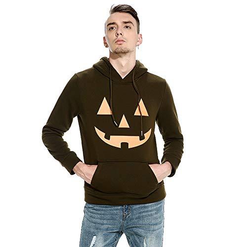 Clearance!Men's Drawsting Hoodies Halloween Hooded Pumpkin Print Long Sleeve Top Blouse -
