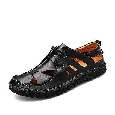 Los hombres sandalias verano zapatos agujero Cowhide Casual talón plano Lace-up caminando Black