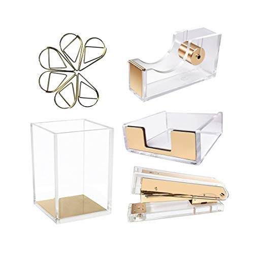 Gold Finished Holder Pen - UNIQOOO 5 Count Super Thick Clear Acrylic Gold Finish Stationery Set - Desk Stapler, Pen Holder, Tape Dispenser, Memo Case, Paper Clips- Great for Modern Office, Arts Lover, Calligrapher, Great Gift
