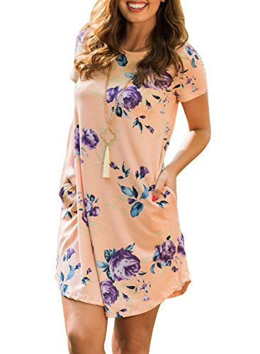 ZESICA Women's Crew Neck Short Sleeve Floral Shift Dress with Pockets, Pink, Small