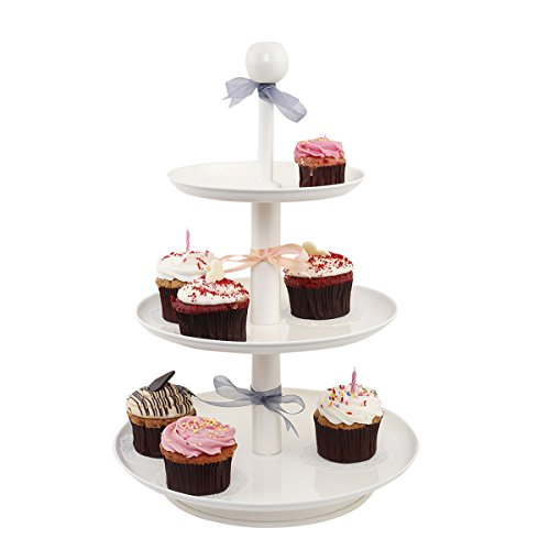 Elan Knob Three Tier Metal Cake Stand Off White (Sofia The First Cupcake Stand)