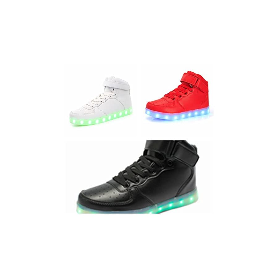 FQ Butterfly Unisex High Top USB Charging 7 Colors LED Shoes Flashing Sneakers