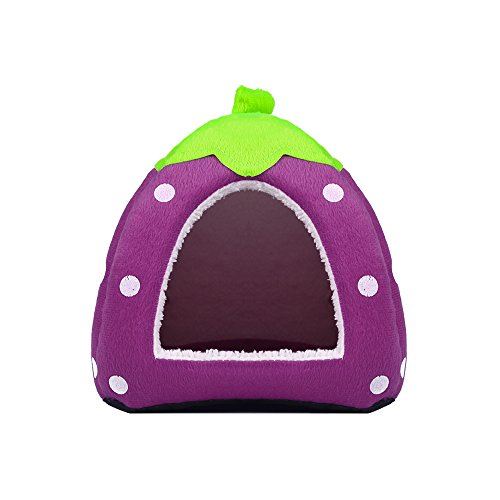 Spring Fever Strawberry Guinea Pigs Fleece House Rabbit Cat Pet Small Animal Bed Purple M (14.214.20.8 inch)
