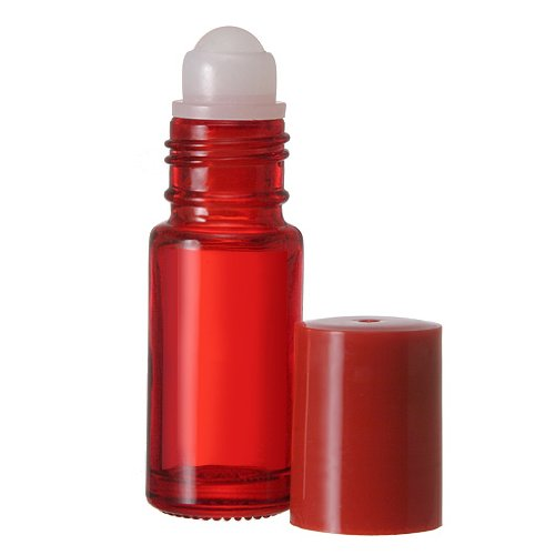 144 Pack Bottles 30 ML Clear Glass Roll On Matching Cap and Plastic Roller includes pipettes - Empty Containers for Essential Oil Aromatherapy Perfume Cologne Wholesale Quantities Available (Red) by The Parfumerie