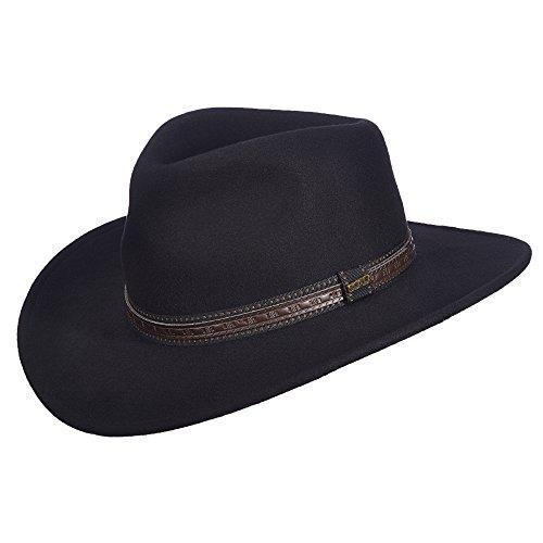 Dorfman Pacific Scala Men s Crushable Wool Outback Hat Black (B005WJ4O4M)  2f64b9bbc958