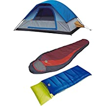 High Peak alpinizmo Redwood -5 + Pilot 20 sleeping bag with Magadi 5 tent combo set, Red/Blue, One Size