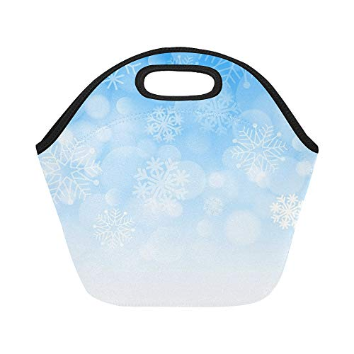 - Insulated Neoprene Lunch Bag Winter Blizzard Snowflakes Design Element Large Size Reusable Thermal Thick Lunch Tote Bags For Lunch Boxes For Outdoors,work, Office, School