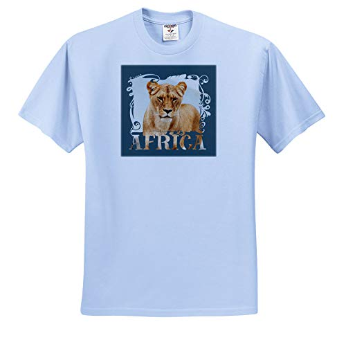 Andrea Haase Animals Illustration - Lioness and Word Africa - T-Shirts - Toddler Light-Blue-T-Shirt (4T) (ts_288945_65) by 3dRose