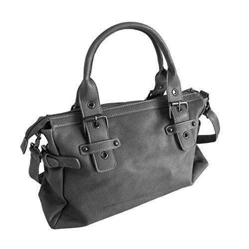 moderne Handtasche Jennifer Jones Damen Tasche Tragetasche Shoppertasche Bag - präsentiert von ZMOKA® in versch. Farben (Braun) Grau