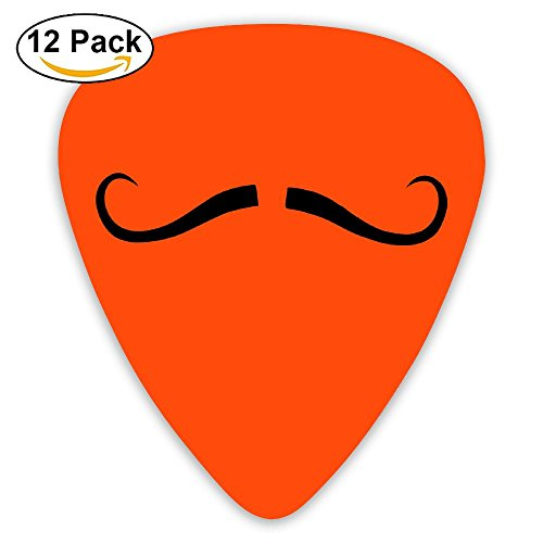 Celluloid Guitar Picks Best Gift For Guitarist Mandolin Guitar Plectrums,Print French Mustache,0.46Mm/0.73Mm/0.96Mm,12 Pack (Dirty Gibson Fingers)