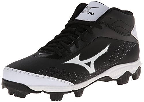 Mizuno Men's 9-Spike Franchise 7 Mid Baseball Cleat,Black/White,7.5 M US