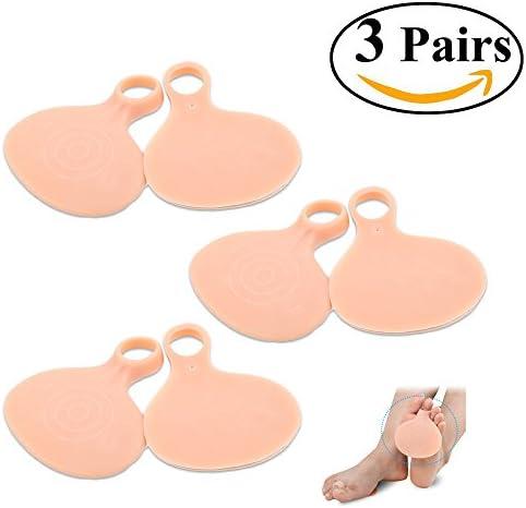 qiansheng 3Paar Silikon Vorfußpolster halbe Größe Gel Schuh fügt Fuß Polsterung Einlagen Zehenschlaufe Fuß Schutz Pad Nude