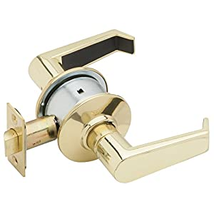 Schlage A10S LEV 605 Series A Grade 2 Cylindrical Lock, Passage Function, Keyless, Levon Design, Bright Brass Finish