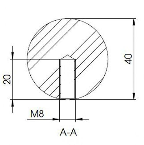 Boule en acier inoxydable /Ø 40/mm avec filetage M8