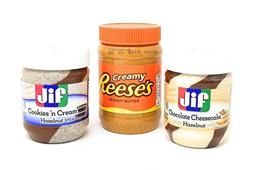 Reese's Peanut Butter, Jif Cookies n Cream, Jif Chocolate Cheese Cake Spread, Pack of 3 ()