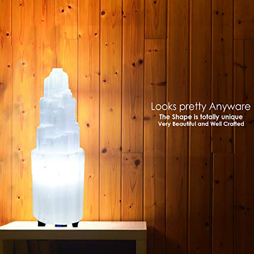 Himalayan Glow Natural Selenite Lamp (5-7 lbs), Amazing Selenite Crystal Lamp Hand Carved with Dimmer Switch