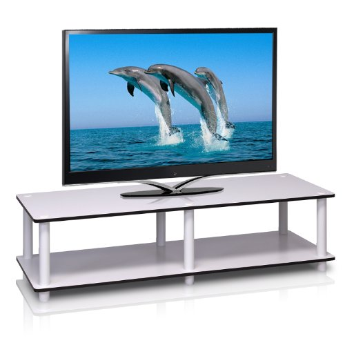Triple Shoe Finish Cabinet - Furinno 11175WH(EX)/WH Just No Tools Wide TV Stand, White