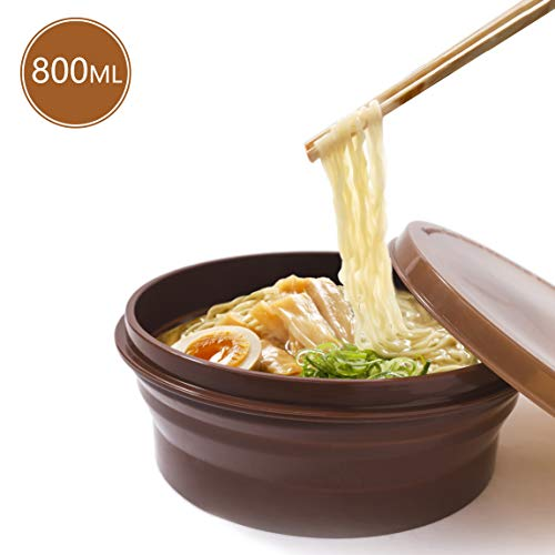 Anjiliya ME.FAM 800ML Silicone Collapsible Bowl with Lid for Outdoor Camping, Travel, Hiking and Indoor Home Kitchen, Office, School Student, Food-Grade, Space-Saving, Portable (Coffee)