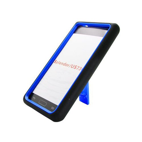 Aimo Wireless Guerilla Armor Hybrid Case with Kickstand for LG Splendor/Venice S730 - Non-Retail Packaging - Black/Blue - Lg Venice Phone Case Black