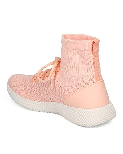 Sneaker Alta In Jogging Donna Alta - Scarpa Da Jogging Alta Allacciata Alla Caviglia - Trendy Sneaker Allenamento In Allenamento Da Palestra - Hd46 By Qupid Collection Blush