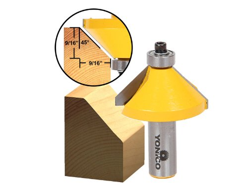 Yonico 13107 45-Degree Chamfer/Bevel Edging Router Bit with X-Large 1/2-Inch Shank ()