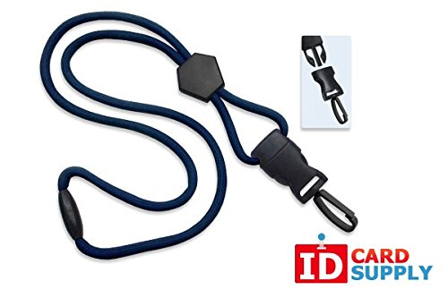 100 - Navy Blue Lanyards with Breakaway 1/4 (6mm) Strap and DTACH Plastic Swivel Hook ending [ 2135-4511 ] -